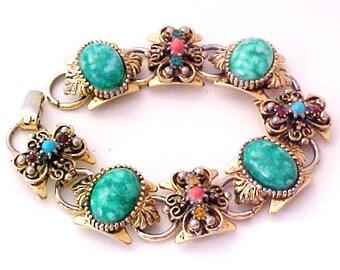 Goldette Style Victorian Revival Jade Rhinestone Bracelet gold tone antiqued