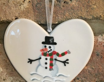 Hand painted Ceramic Heart - Frosty the Snowman