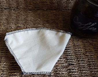 Set Of Two #2 Cone Style Coffee Filters. Traditional Hot Brew 1 to 4 Cup. Reusable Filter. Made With 100% Organic Cotton.