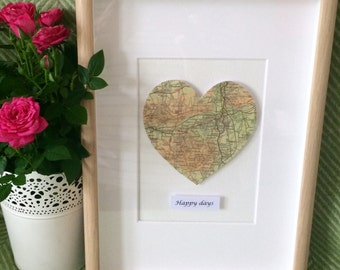 Personalised framed map heart 'Bailey'