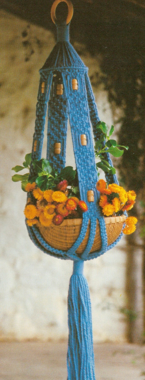 macrame plant hanger pattern pdf items similar to macrame pot plant beaded hanger pattern 1675