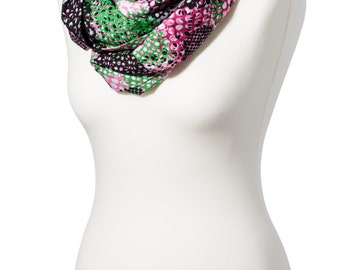 Neon coloured print infinity scarf