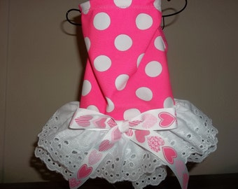 Hot Pink Polka Dot and Eyelet Lace dog dress size medium (M)