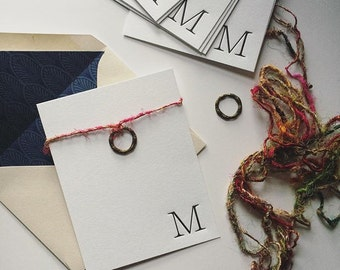 Initial Letterpress Stationery - Set of 10