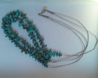 Tuquoise and silver double strand necklace