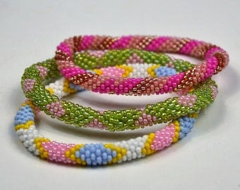 Handmade Nepal Bracelet by Ramila Beads. 3 Pcs Multi Colored set.