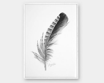 Art print, Black and White, Feather drawing, Printable wall art, Fine art print, Prints illustrations, Printable artwork, Modern Wall decor,