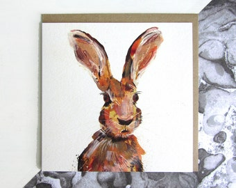 Hare Blank Greeting Card, British Countryside and Wildlife, Animal Greeting Card