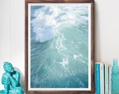 Ocean Wave Photography, Abstract Art Print, Coastal Photography, Turquoise, Beach Photo, Minimalist Art, Printable Art, Digital Download