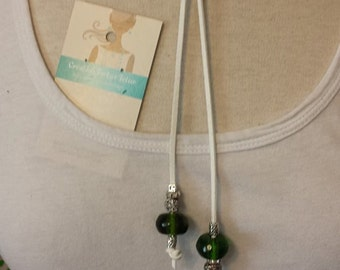 White Pearl choker necklace Green