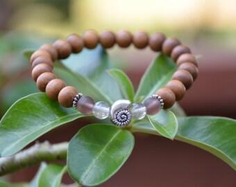 Sandalwood Stretch Bracelet with Purple Accents