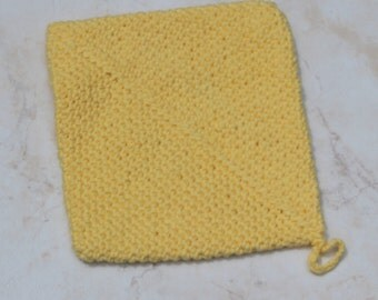 Yellow Crocheted Double-Thickness Potholder