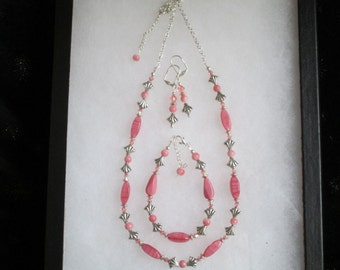 "Coral and Silver 20"" Necklace, Bracelet, and Earring 3 piece Set"