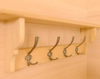 Handmade solid wood shelves with hooks