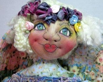 Flower Garden Goddess Sprite Pixie Fairy Faery Fae OOAK Cloth Art Doll, Home Decor Art Doll
