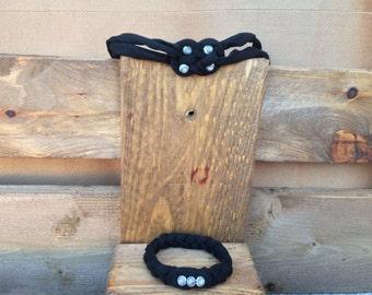 Cotton beaded bracelet and headband set