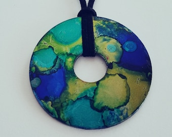 Lime and Aqua (large pendant necklace)