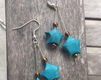 Two Star Origami Earrings
