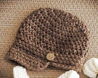 Newborn Newsboy Crochet Beanie Hat Photo Prop Shower Gift Photography Prop