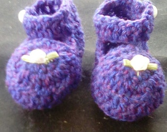 Crocheted Purple Baby Shoes