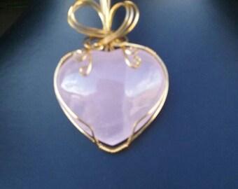 Heart shapped Rose Quartz Pendant