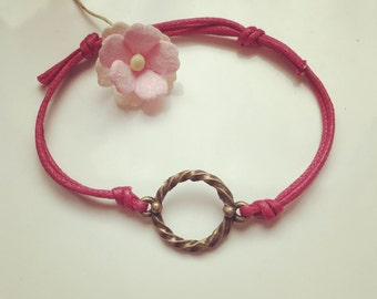 Circle - charm on a bracelet in pink, waxed cotton, vintage, statement, bloggers, ring