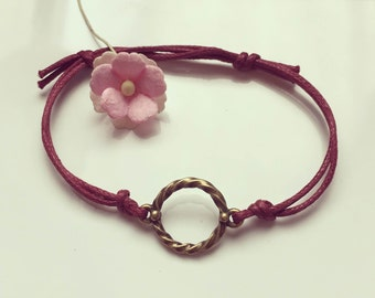 Circle - charm on a bracelet in Burgundy, waxed cotton, vintage, statement, bloggers, ring, bordeaux