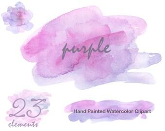 Watercolour clipart Purple Background Splash Brush stroke Commercial use pink spot patch blotch feminine digital overlay for logo blog png