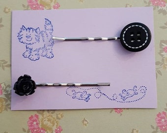 Handmade small black rose and button bobby pins - set of two bobby pin hair clips, 1 black rose and 1 black button
