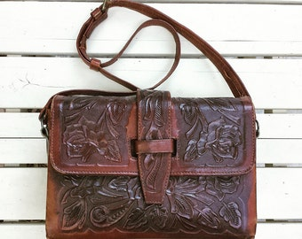 1980's Pymsa embossed leather purse - rich brown