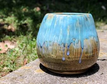aqua / sea-green drippy ceramic vase / vessel