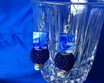 Marbled Blue Earrings