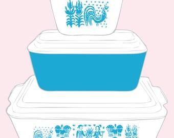 Pyrex Art Download, Refrigerator Fridgie Butterprint, 8x10, high-res .jpeg