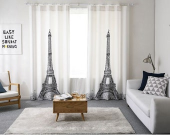 Paris Eiffel Tower Blackout Curtains, 50% blocks Light, Blackout Panels, Blackout Drapes, White Blackout Curtains, Nursery blackout curtains