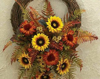 "18"" Fall/Sunflower Grapevine Wreath"