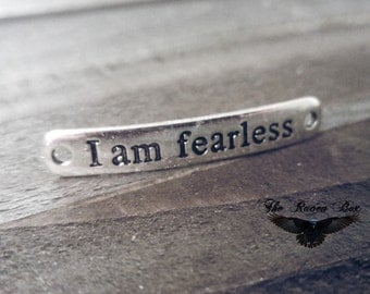 Quote Connector I AM FEARLESS Bracelet Connector Link Word Pendant Quote Pendant Inspirational Quote Connector