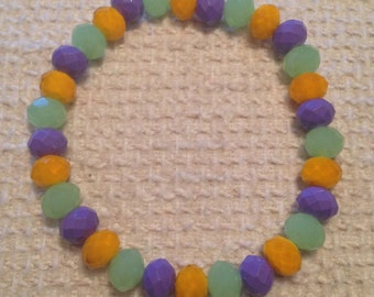 Fruit de la Passion (Purple, Green & Yellow Handmade Beaded Bracelet)