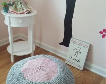 Handmade knitted pouf/ottoman