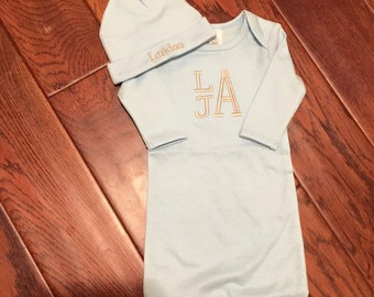 Baby Boy Gown, Welcome Home Baby, Baby Boy, Baby Gown, Baby Hat, Personalized Baby, Baby Gifts, Monograms, Embroidery