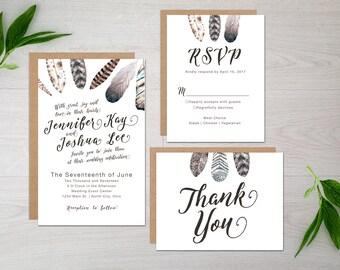 Printable Boho Feathers Wedding Invitation Suite - Feather - Wedding - Invitation - Script - Watercolor - Printable - Thank You - RSVP