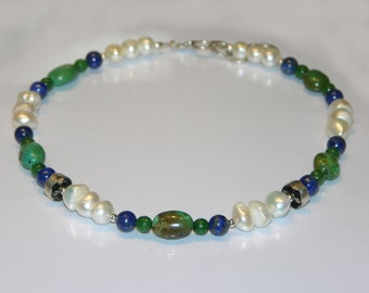 Lapis lazuli, turquoise and pearls necklace