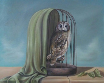 owl, oil, canvas, art, paintings, handmade, cage, sky