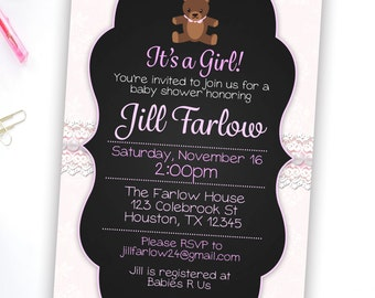 Baby Shower Girl Invitation Printable Baby shower invites, Baby Shower Party Invites, It's a girl baby shower invitation, party invitations