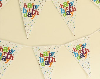 2.5 Meter Kids Happy Birthday pennants Paper Flag Party Decoration 1 Banner flags Bunting for Children kids flags for new year