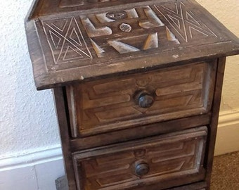 Rustic Wooden Drawers Mayan Antique Vintage Carved Pyramid