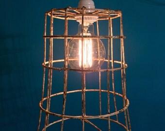 Vintage wire basket light fixture