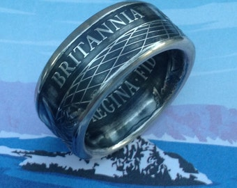 Coin Ring made from a Britannia 2015 UK 50 Pound Fine Silver Coin -- 99.99% Pure Silver