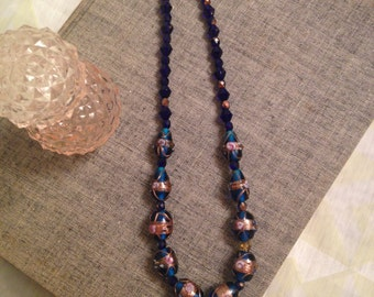 Cobalt Blue Painted Glass Bead Necklace