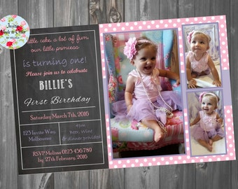 Girls pink and purple Chalkboard Invitation with photo and pink polka dots