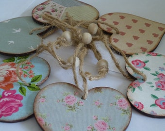 shabby chic/ vintage distressed hearts